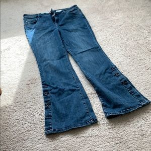 Pilcro and Letterpress button bell bottom jeans